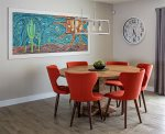 Dining table with freaky wall art - @wijdesigns