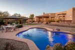 Large, Private back yard with pool, fire pit, BBQ and more