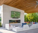 Outdoor TV under the Cabana - Fireplace seating