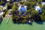 Aerial view of home with dock