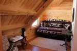 Sleeping nook in loft with trundle twin beds