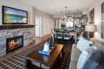 Gas fireplace, large smart TV, high speed internet and more.