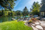 Private dock on Sagle Slough provides safe moorage, but also very easy Lake Pend Oreille access.