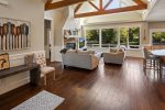 Large Great Room with open concept, wood floors and nature / water views.