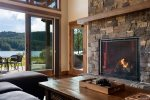This custom stone and gas fireplace warms the entire Great Room area.