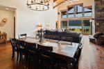 Large dining room table is great for dinner and game night.