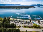 Aerial of condo and Hope area of Lake Pend Oreille.