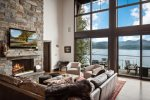 Gas fireplace, living room - just 40` from the lake.