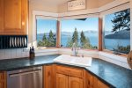 A kitchen that is fully appointed.  Great views while washing up, too