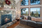 Perfect room to cozy up with a book and enjoy the Flagstone gas fireplace.