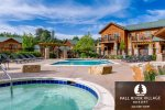 Condo overlooking pool & hot tub, steps from grill & fire pit. 5-minute walk to downtown Estes.