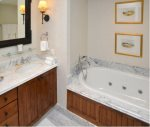 Bathroom features Marble counter-tops and tub