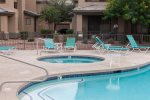 Heated swimming pool, hot tub, lounge areas, and fitness center
