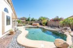 Private backyard with swimming pool, BBQ, and outdoor patio
