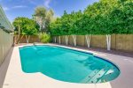 Large swimming pool w/ loungers and citrus trees