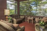 Screened in porch with incredible Maine views.