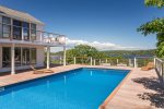 Pool with views of the Kennebec River.