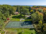 A birds eye view of the tennis court.