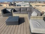 Outdoor furniture on the rooftop deck to hang out and enjoy the view