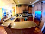 Large granite countertops in kitchen.