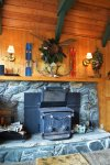 Vintage wood fireplace. Feel free to bring your own fire wood and light up the room