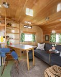 The Draper living room with table folded out The Camp RV Park Bend Oregon