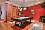 Pool Table Wet Bar Game Room with TV