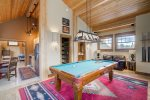 Upper level rec room loft with billiards, kitchenette and gas fireplace