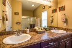 Double vanity and walk-in shower for master bath