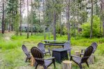 Large picnic table with seating for 8-10. Firepit area with seating for 12. Enjoy making memories here
