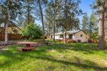 Firepit, Picnic tables, lighting, room for lawn games, fenced all the way around.  168