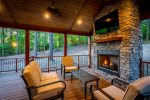 Outdoor seating with fireplace