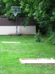 Horseshoes and basketball hoop