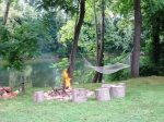 Enjoy a campfire by the river