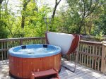 Outdoor hot tub on sun deck