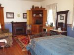 Inside cottage, queen bed,  electric fireplace, TV, DVD, Private bath