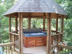 Large sun deck area and gazebo with hot tub
