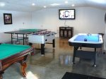 Detached game room with 50 in. Flat screen TV, ping pong, foosball, air hockey and pool table