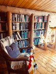 Loft library, there is also a twin bed