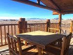 Deck with dining area and great Beartooth Mountain view
