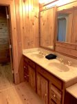 Master bathroom double sinks and separate shower/toilet room